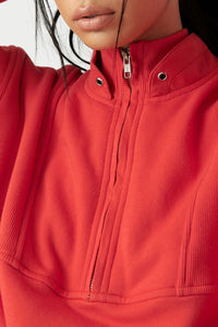 Joah Brown Onesize Retro Half Zip - Hot Sauce French Terry