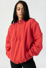 Load image into Gallery viewer, Joah Brown Onesize Retro Half Zip - Hot Sauce French Terry