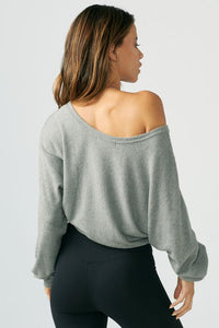 Joah Brown Slouchy Dolman Long Sleeve - Grey Rib Sweater Knit