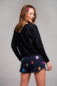 Terez Navy Foil Printed Shorts- navy with Stars