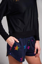 Load image into Gallery viewer, Terez Navy Foil Printed Shorts- navy with Stars