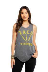 Chaser - Womens Muscle T- Shirt - Taco Time Grey
