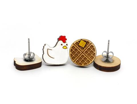 [un]possible cuts earrings - Chicken & Waffle