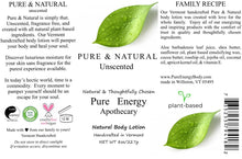 Load image into Gallery viewer, Pure Energy Apothecary Pure & Natural Body Lotion - Unscented