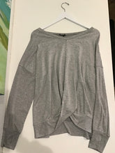Load image into Gallery viewer, Terez Ribbed Sleeve Twist Front Sweatshirt-Grey