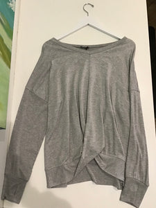 Terez Ribbed Sleeve Twist Front Sweatshirt-Grey