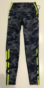 WITH High Waist Legging- Navy/Gray Camo w Neon Accent