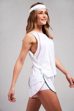 Load image into Gallery viewer, Terez Hi Lo Muscle Tank With Piping (White)