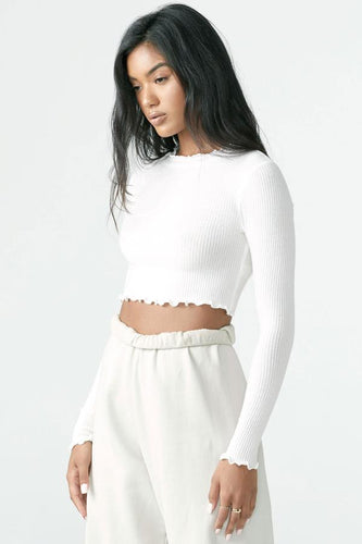 Joah Brown Scallop Crew Long Sleeve-Ivory