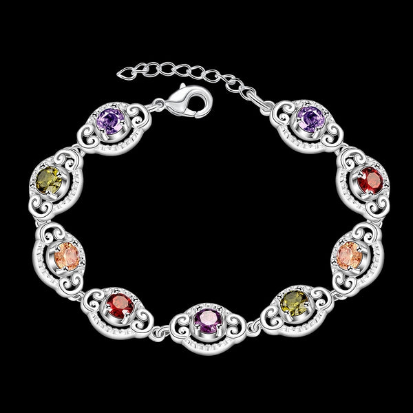 Multi Colored Sterling Silver Bracelet