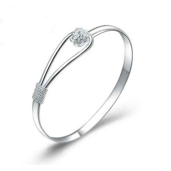 Silver Flower Clasp Bangle Bracelet