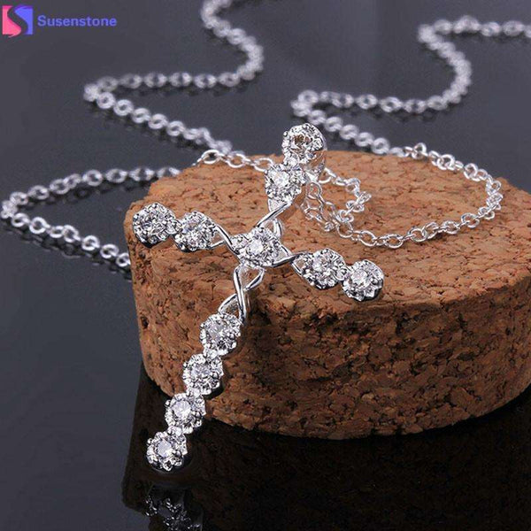 Silver Crystal Rhinestone Cross Necklace