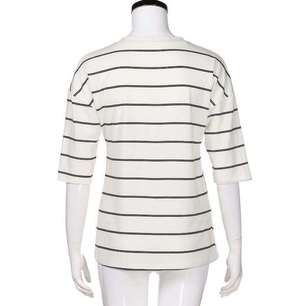 Elbow Sleeve Striped Blouse
