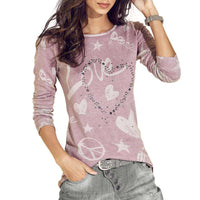 Letter Printed Loose Cotton Top