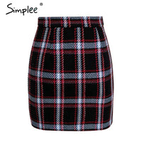 Elegant Front Zipper Tweed Skirt
