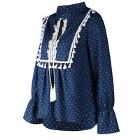 Lace Panel V-neck Drawstring Blouse