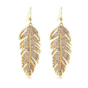 Stunning Gold Feather Earring