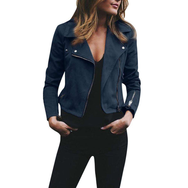 Retro Rivet Zipper Bomber Jacket