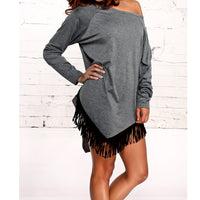 Tassel Long Sleeve O Neck Shirt