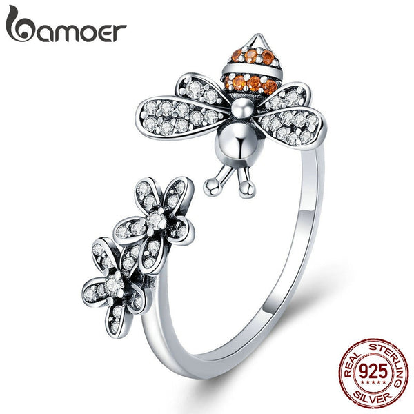 Sterling Silver Bee & Daisy Finger Ring
