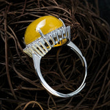 Sterling Silver Israel Amber Ring