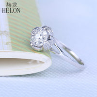 HELON Solid 14K White Gold Brilliant Diamond Engagement Solitaire