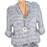 Long Sleeve Letters Blouse