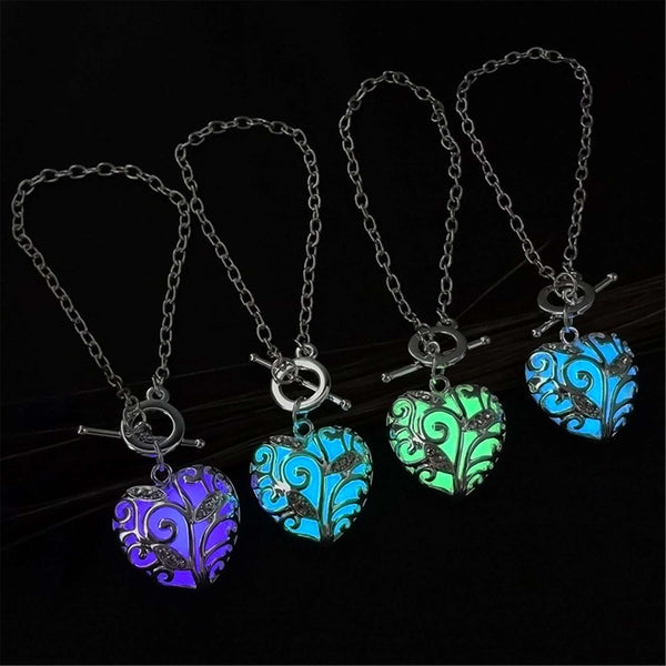 Glow in the Dark Heart Shaped Pendant Bracelet