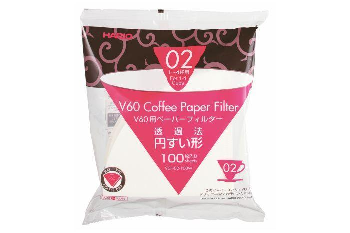 Hario Filter Papers Bleached 02 for V60 Pack 100 Filters