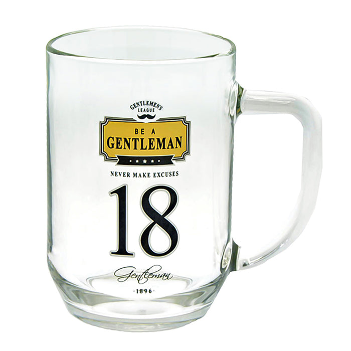18th Birthday Beer Glass Men's Gift Gentlemen Never Make Excuses