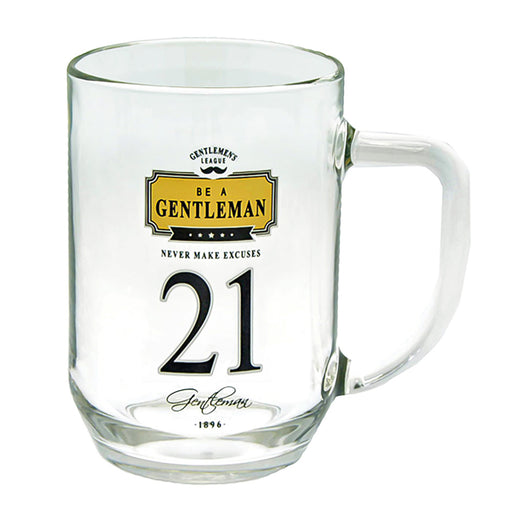 21st Birthday Beer Glass Men's Gift Gentlemen Never Make Excuses