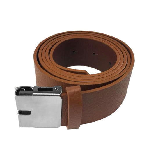 Belt Buckle Connector And Belt Brown PU-Leather Front