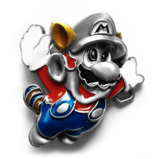 3D Flying Super Mario Belt Buckle Zinc Alloy Pewter Grey Front