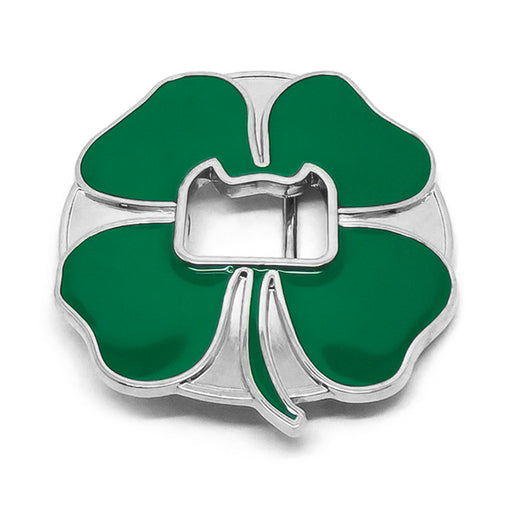 Lucky Four Leaf Clover Belt Buckle Bottle Opener Green Silver