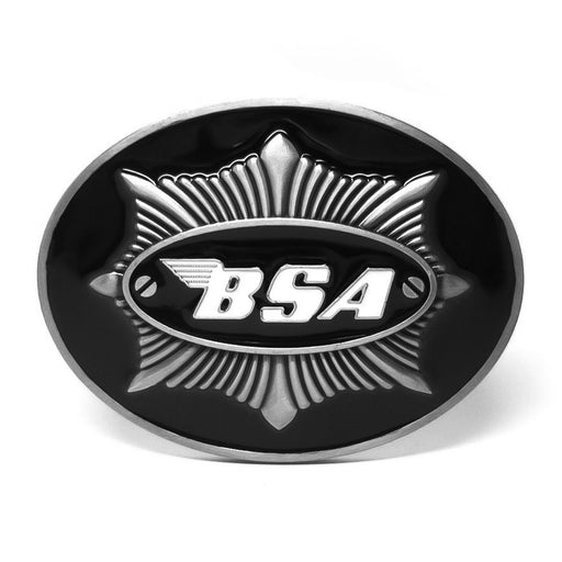 BSA Motorcycle Belt Buckle Pewter Grey and Black