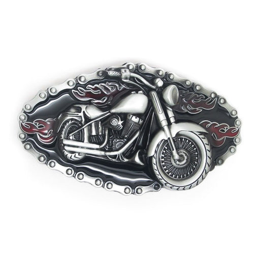 Flames & Chains Motorcycle Belt Buckle Pewter Grey