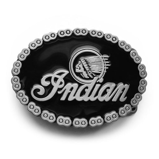 Indian Motorcycle Belt Buckle Pewter Grey and Black