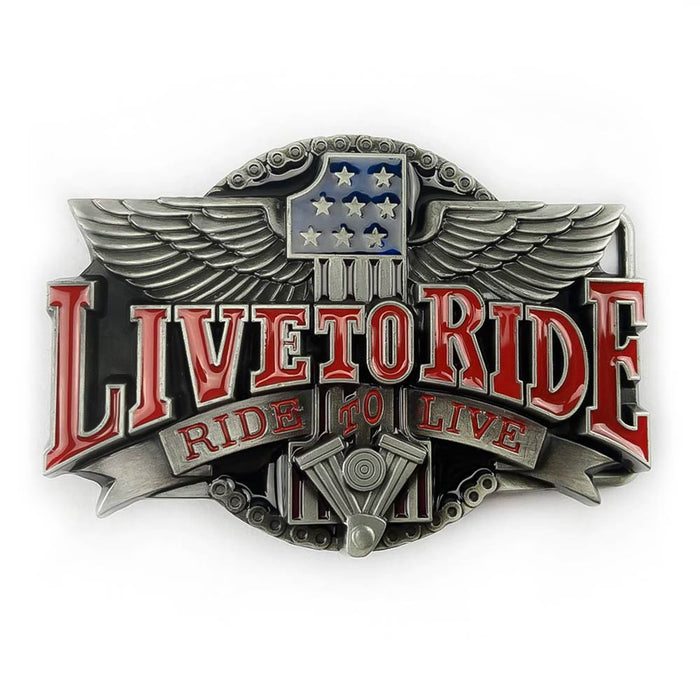 Live To Ride Motorcycle Belt Buckle Pewter Grey