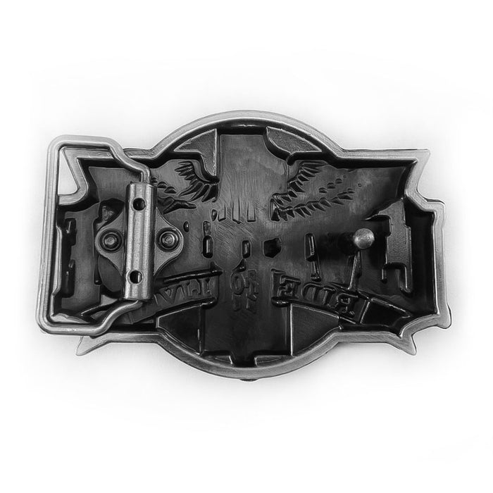 Belt Buckle - Motorcycle Live To Ride Wings (Pewter Grey & Red)