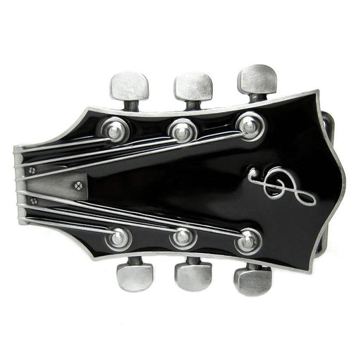 Electric Guitar Belt Buckle Headstock Piece Black Image Front