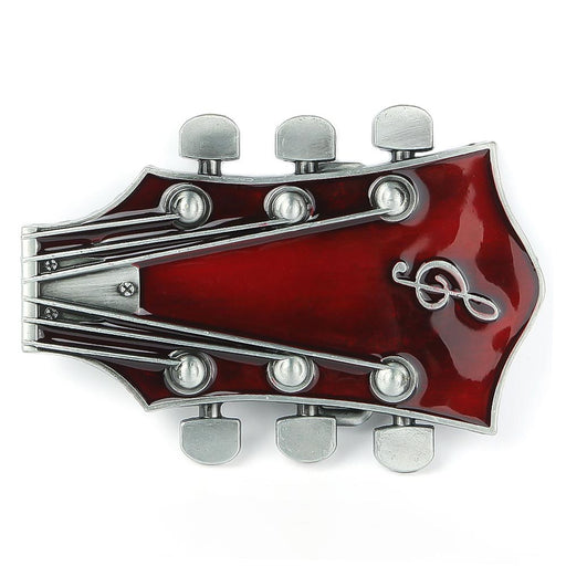 Electric Guitar Belt Buckle Headstock Piece Red Image Front