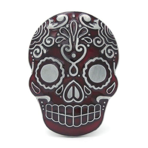Mexican Sugar Skull Belt Buckle Pewter Grey and Maroon