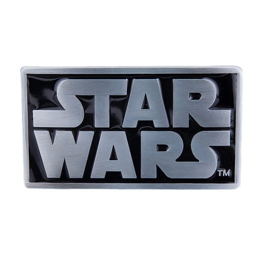Star Wars Logo Belt Buckle Glossy Black Rectangle Image Front