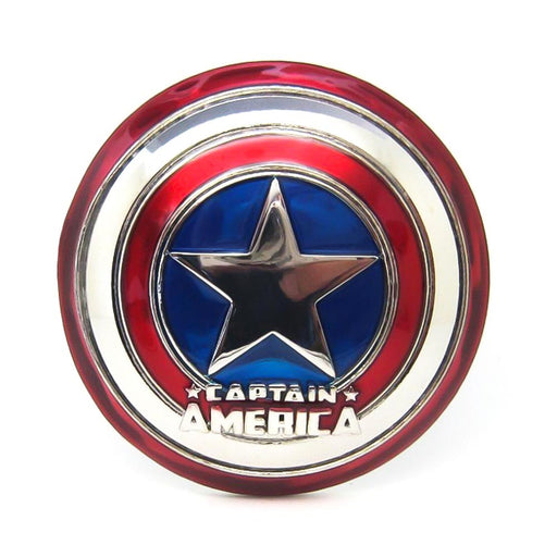 Captain America Belt Buckle Superhero Glossy Silver Red Image Front