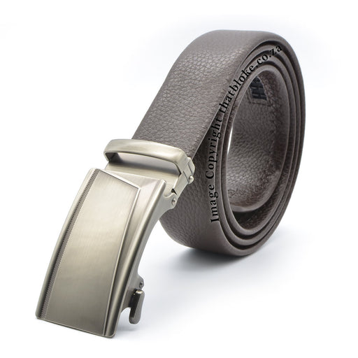 Dark Brown Belt With Vintage Silver Buckle Front View