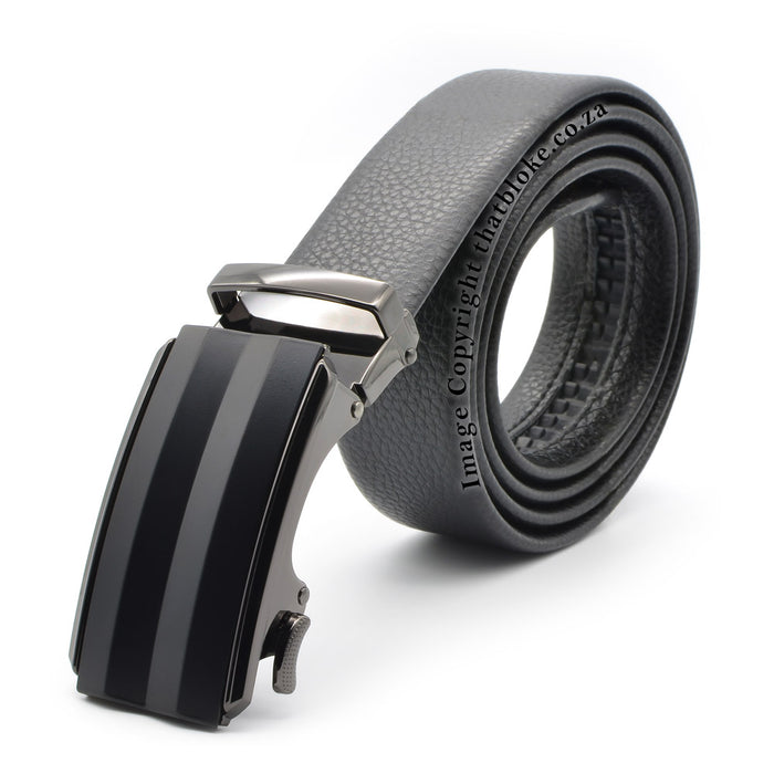 Formal Black Belt With Gunmetal Black Buckle and Zig-Zag Square Top