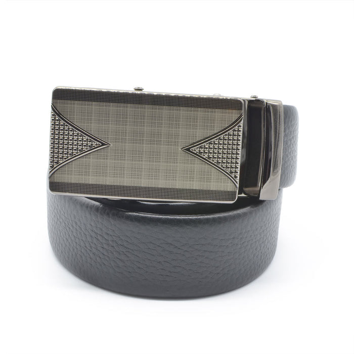 Leather Belt (Black) - Triangle Sides With Square Checker Pattern | That Bloke