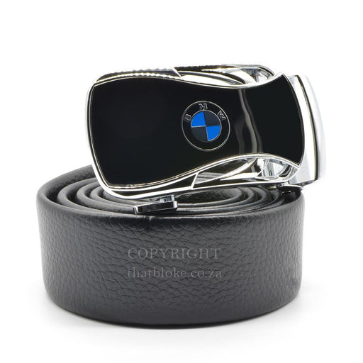 BMW Belt Buckle Silver Car Logo Image Side View