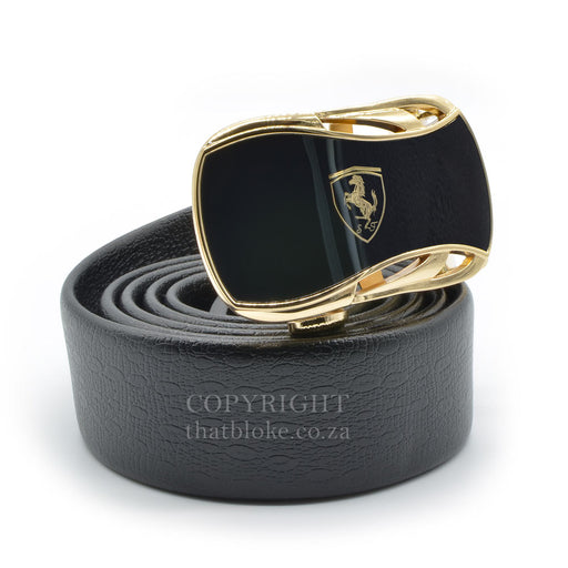 Ferrari Belt Buckle Gold Logo Centre Side View