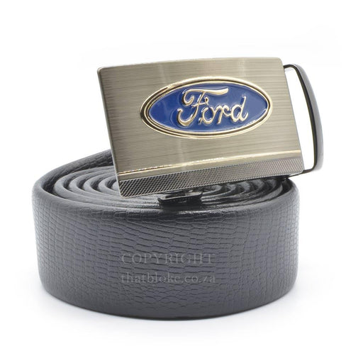 Ford Belt Logo Silver Image Side View Black